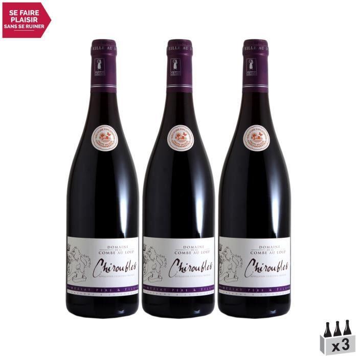 Chiroubles Rouge 2018 - Lot de 3x75cl - Domaine de la Combe au Loup - Vin AOC Rouge du Beaujolais - Cépage Gamay