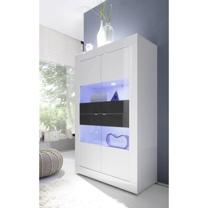 Vaisselier blanc laqué et anthracite design ARIEL 3 Avec LED L 102 x P 43 x H 162 cm Blanc