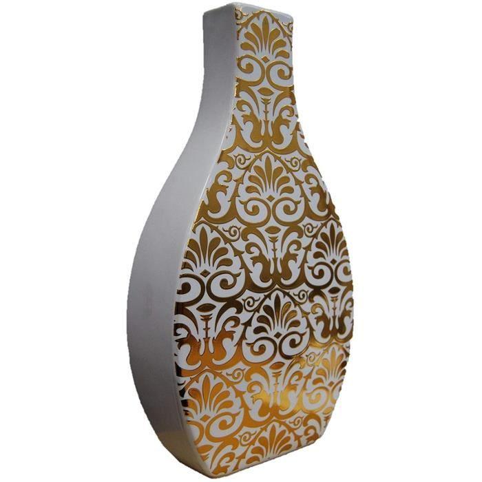 Straits 30cm Blanc et Or Décalque Carré Cou Fleur Vase Céramique Bouteille Vase
