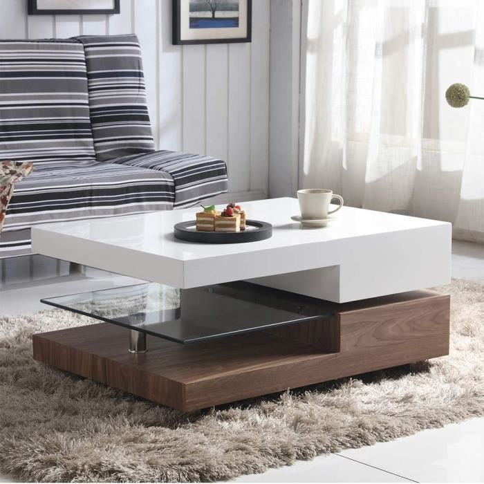 GOLDFAN Haute Brillance Table Basse Rectangulaire Pivotant à 2 Niveaux, Table de Salon Plateau en Verre avec Stockage, Design Ori121