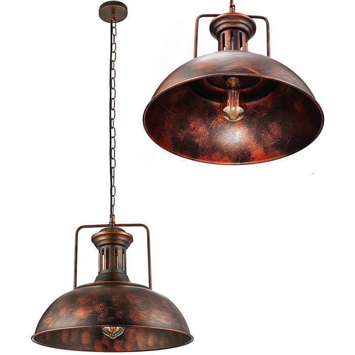LUSTRE - SUSPENSION Suspension Luminaire Industrielle E27 Abat-Jour Cha&icircNe Lustre R&eacuteGlable En M&eacuteTal Pour Res146