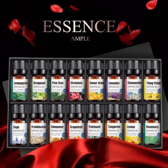 Huile essentielle essentielle d'aromathérapie naturelle 100% pure 10 ml 16 bouteilles coffret cadeau_x33630
