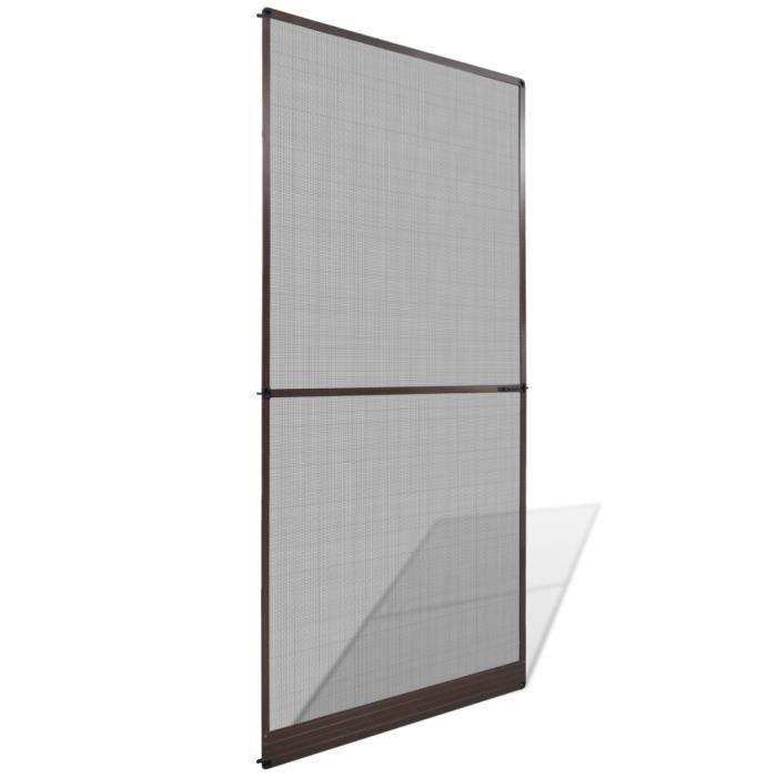 100 x 215 cm Moustiquaire à charnières pour porte Marron cadre en aluminium + maillage en fibre de verre