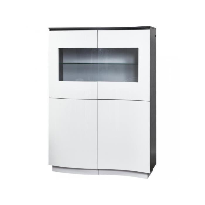 BOBOCHIC® Vitrine 4 portes laquees Pacific Gris et blanc Gris Design contemporain Produit Testé et Approuvé 110x45x152