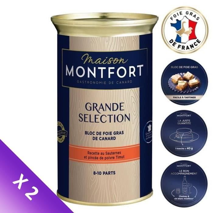 [Lot de 2] MAISON MONTFORT Bloc de foie gras de canard Grande sélection - Boîte de 330 g