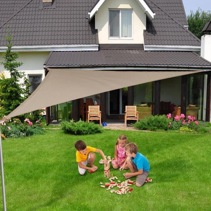 Voile Ombrage 3x3x3 m - Gris - Triangulaire matière imperméable - Lavable en Machine - Densité 160g - m² - Toile Tendue