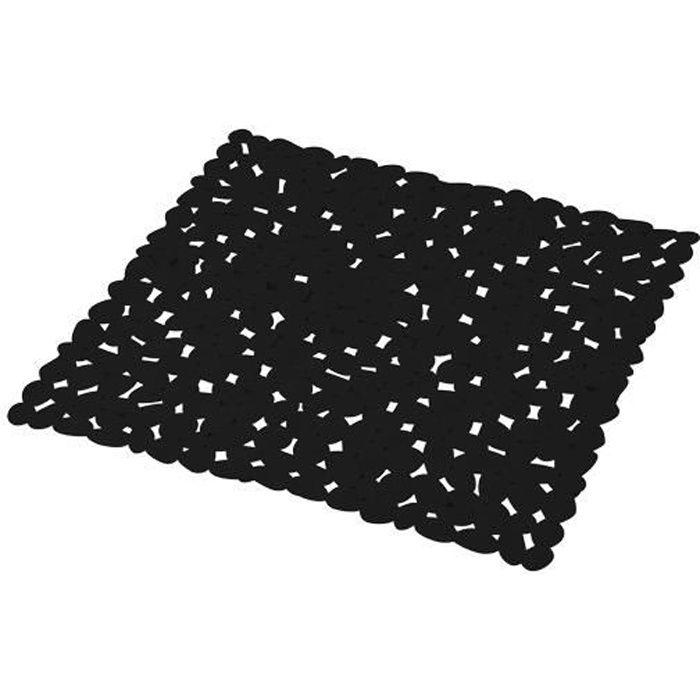 Tapis de fond de douche anti-dérapant Galets Noir