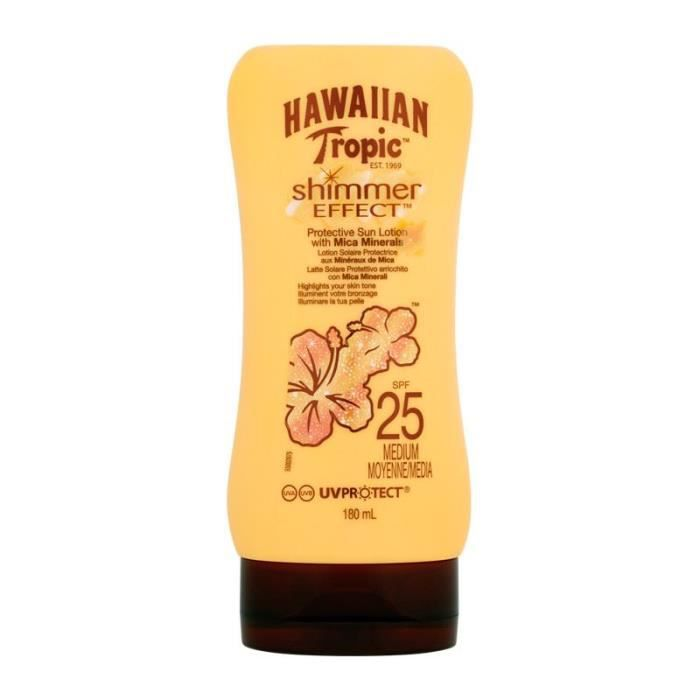Hawaiian Tropic shimmer effect lotion solaire spf 25 protection faible 180 ml