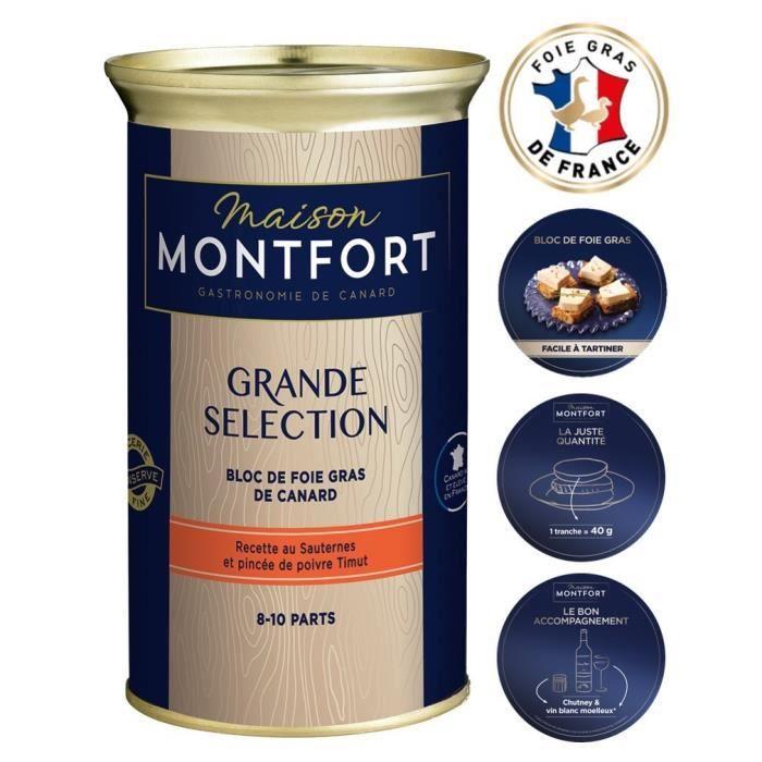 MAISON MONTFORT Bloc de foie gras de canard Grande sélection - Boîte de 330 g - Recette au Sauternes et pincée de poivre Timut
