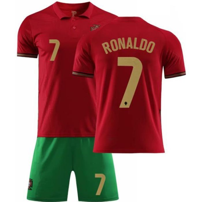 Maillot de Football, 2021 Portugal Home No. 7 Maillot Cristiano Ronaldo avec Uniforme de Football pour Enfants