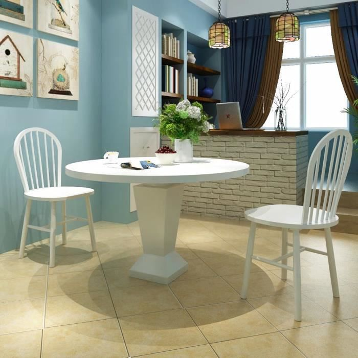 Lot de 46,5 x 52 x 94 cm chaises de salle à manger - Style contemporain Scandinave chaise Cuisine 2 pcs Rond Bois Blanc