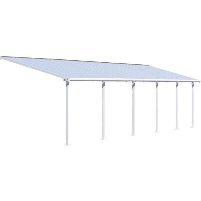 Pergola adossée Olympia 29,3 m² - Aluminium et polycarbonate - Blanc - PALRAM