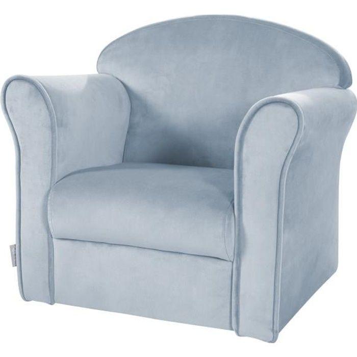 ROBA Fauteuil enfant -Lil Sofa- avec accoudoirs, mini-fauteuil confortable rembourré de velours bleu clair
