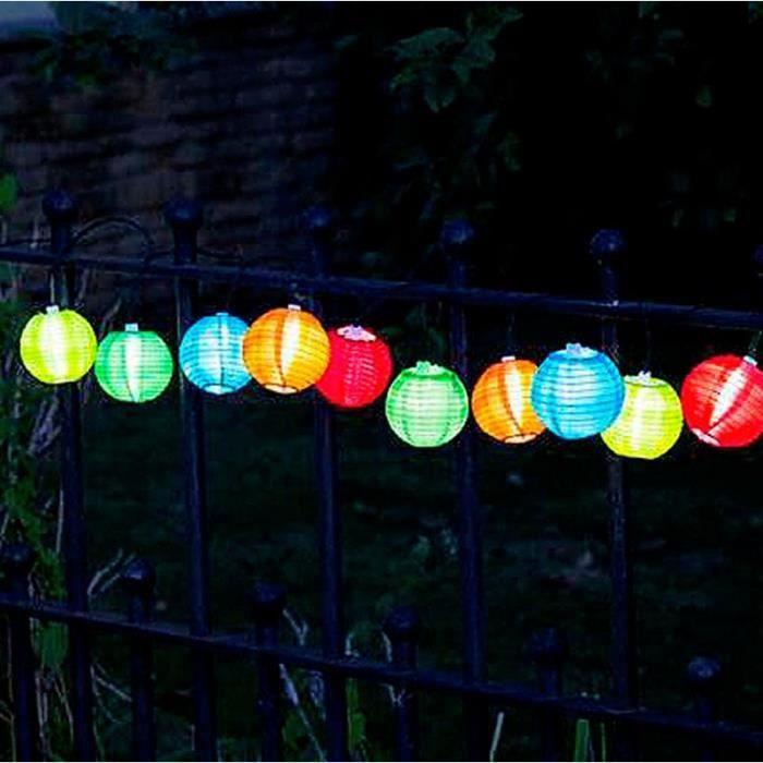 Guirlande solaire 10 lanternes chinoises couleur
