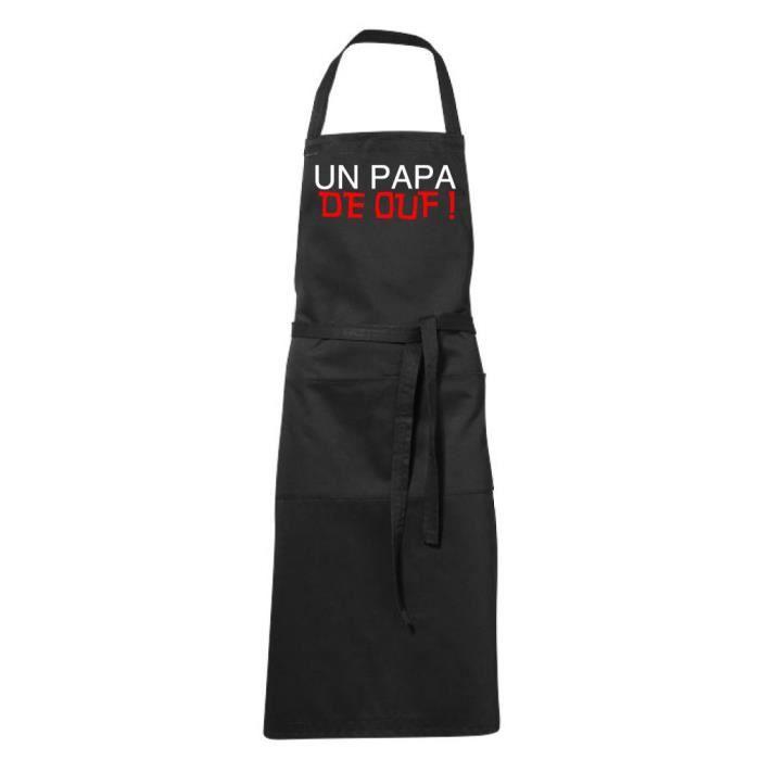 Tablier de cuisine noir Humoristique - papa de ouf - fete des Pères