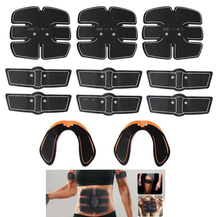 TD® Lot de 14 pièces d'électrostimulateur muscles EMS ceinture abdominale cuisses équipement fitness accessoire gym