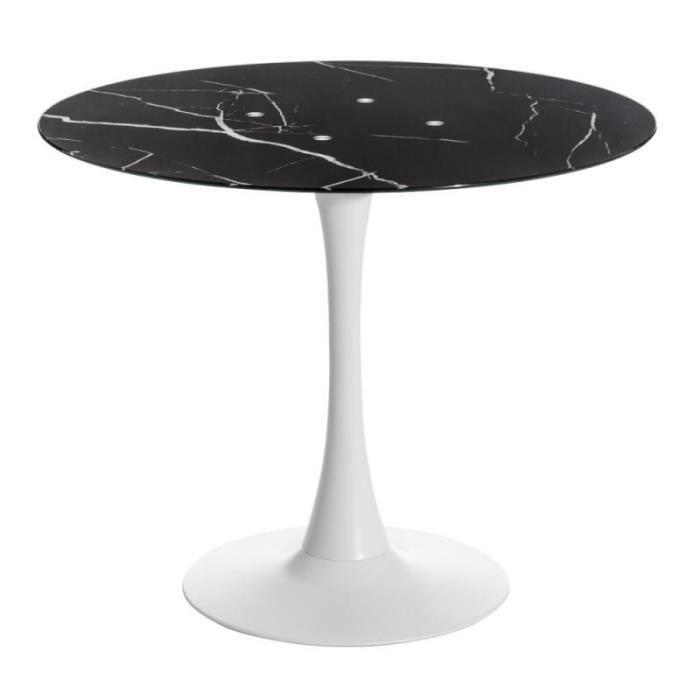 Table de repas ronde Verre/Métal - STRAVNIK - L 90 x l 90 x H 73