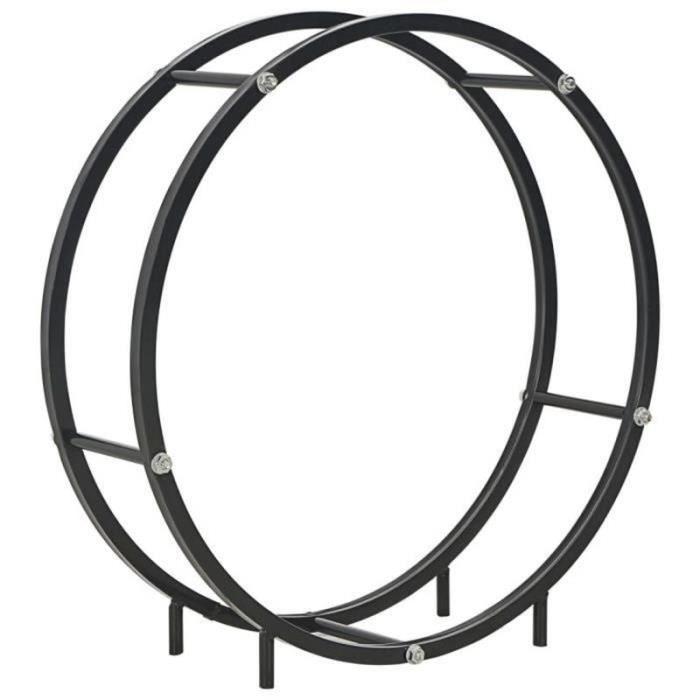 XM21795-Portant de bois de chauffage-Porte-bûche range-bûche Noir 70 x 20 x 70 cm Acier