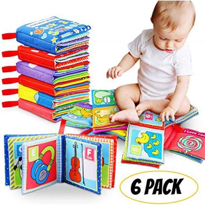 Livre en Tissu pour B/éb/é Jouet Educatif Premier Livre Souple Tissu Apprentissage de Couleur et Forme Cadeau Enfants Plus de 3 Mois