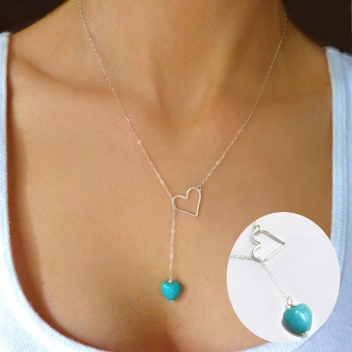 collier argent pendentif turquoise