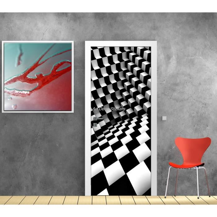 affiche poster pour porte trompe l oeil damier dimensions achat vente affiche carton cdiscount. Black Bedroom Furniture Sets. Home Design Ideas