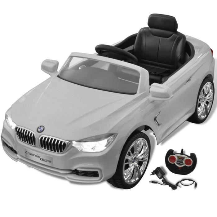 bmw voiture enfant lectrique avec t l commande blanc. Black Bedroom Furniture Sets. Home Design Ideas