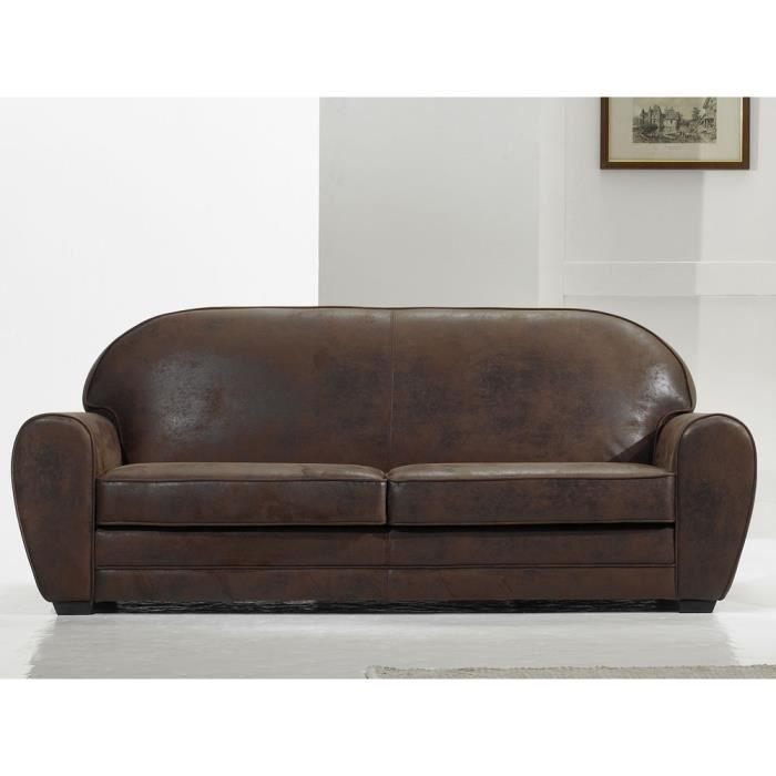 canap vintage 3 places coloris alaska marron achat vente canap sofa divan cuir. Black Bedroom Furniture Sets. Home Design Ideas