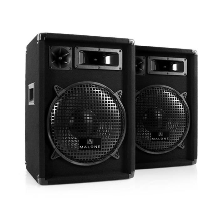 malone pack d 39 enceintes passives pour sono disco pa dj subwoofer 30cm 12 syst me 3 voies 300w. Black Bedroom Furniture Sets. Home Design Ideas