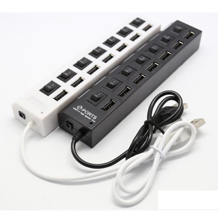 7 port hub usb 2 0 high speed ports pour ordinateur pc. Black Bedroom Furniture Sets. Home Design Ideas