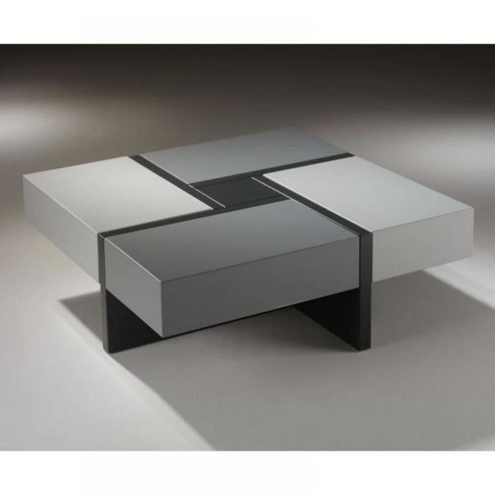 Table basse design molly grise avec 4 tiroirs coulissants - Table basse design solde ...