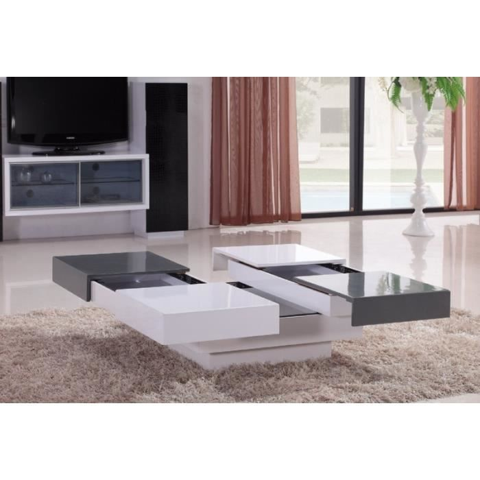 table basse laqu e blanche et grise 4 tiroirs kary achat vente table basse table basse. Black Bedroom Furniture Sets. Home Design Ideas