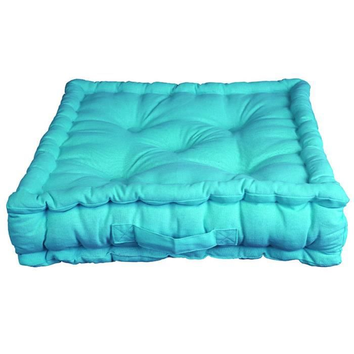 coussin de sol pacifique turquoise 100 coton achat. Black Bedroom Furniture Sets. Home Design Ideas