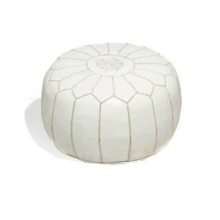 pouf design cuir marocain blanc rembourr achat vente pouf poire cuir cdiscount. Black Bedroom Furniture Sets. Home Design Ideas