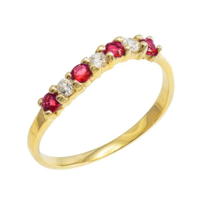 Bague Femme 10 ct Or 471/1000Empilable Oxyde de Zirconium Rubis