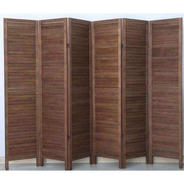 PARAVENT Paravent persienne de 6 pans en bois- Brun - H170