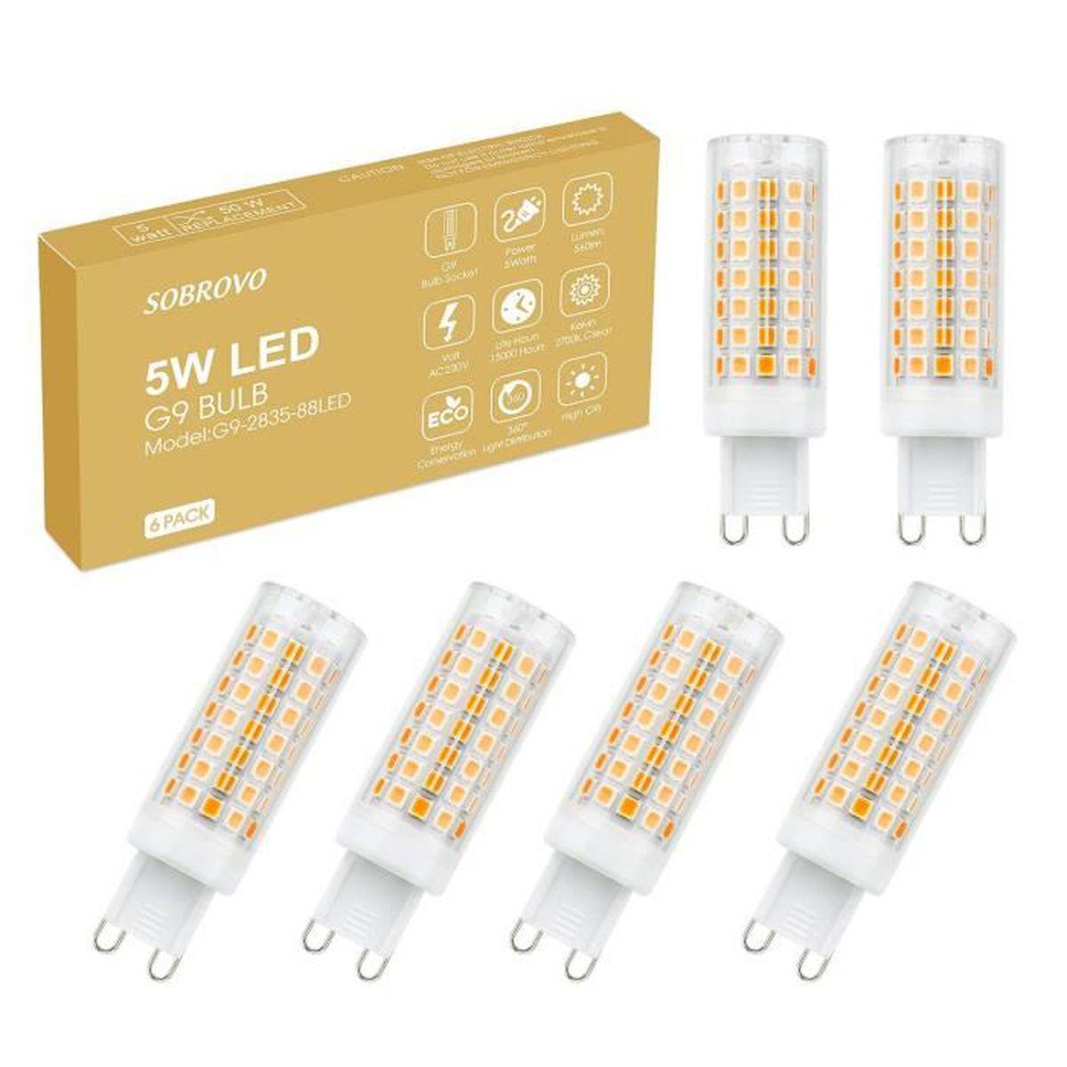 Mes Ampoules Led Scintillent g9 ampoules led, 6-pack 5w ampoules à économie d'énergie