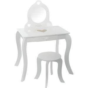 COIFFEUSE Coiffeuse avec tabouret - Enfant - Blanc 50,5 cm
