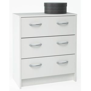 COMMODE DE CHAMBRE Primo meuble Commode blanche 3 tiroirs - Blanc