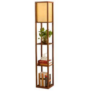 LAMPADAIRE QIANGUANG® Lampadaire en bois de 1,6 m avec étagèr
