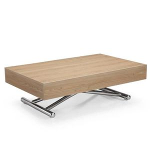 TABLE BASSE Table basse relevable CUBE chêne clair extensible