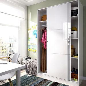ARMOIRE DE CHAMBRE Armoire avec 2 portes coloris blanc Brillant - Dim