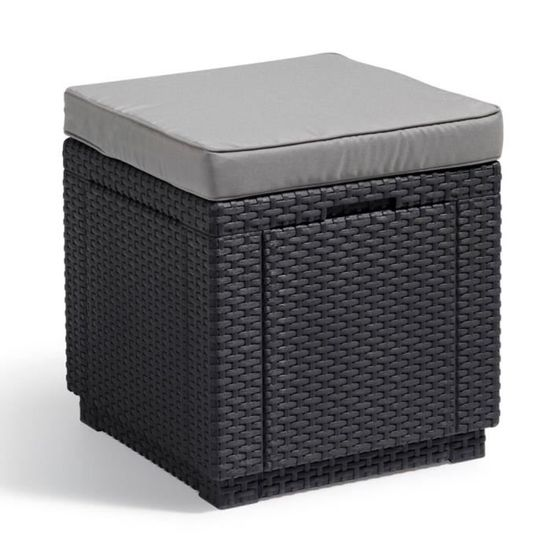 P170 Allibert Pouf De Rangement Cube Graphite Achat Vente Coffre De Jardin P170 Allibert Pouf De Cdiscount