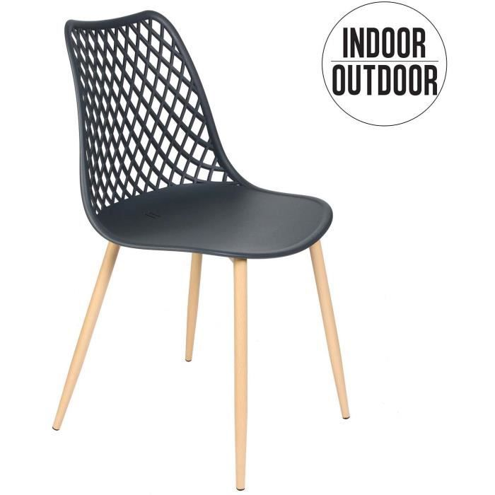 Poufs fauteuils et chaises - Chaise - L 51,9 cm x l 47,8 cm x H 83,9 cm - Malaga - Gris