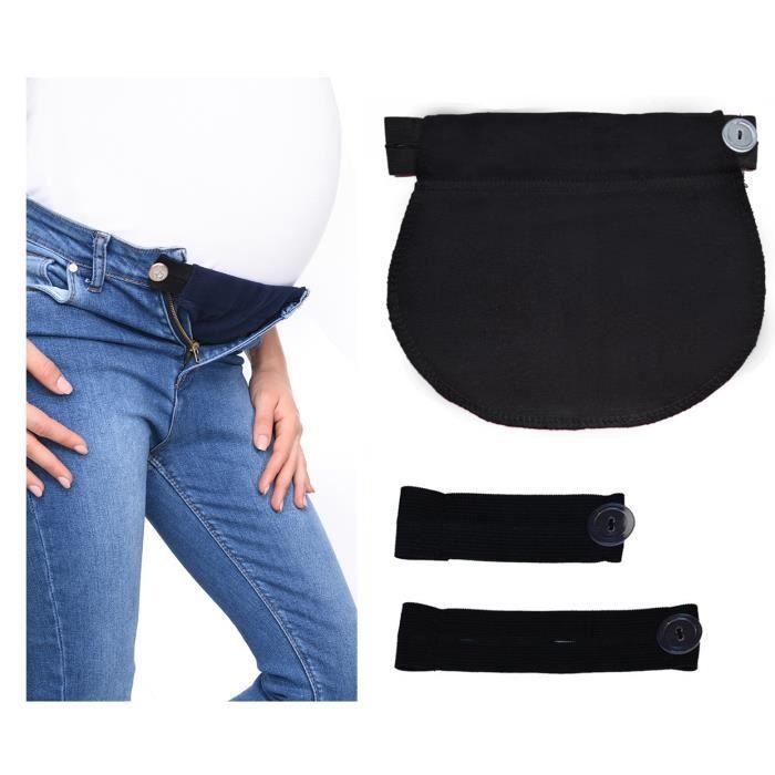 Lot de 3 ceintures d'ajustement 1028 - bandeau de grossesse - pantalon et jupe - TU - Noir