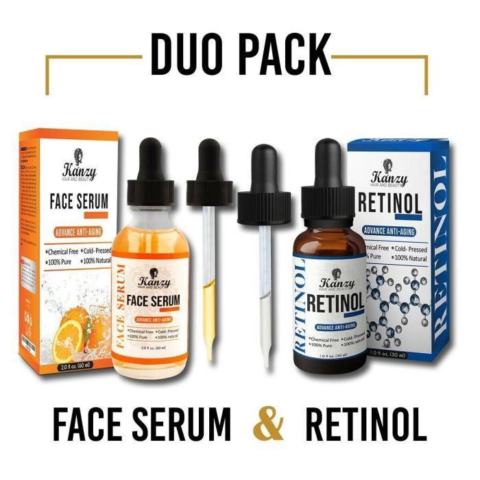Vitamine C Face Rétinol Serum Visage - acide hyaluronique pour cicatrices Pigmentation Cernes Taches Rides Anti-vieillissement