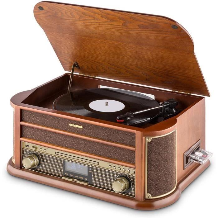 Platines cassettes AUNA Belle Epoque 1908 - Tourne-Disque rétro, Radio numérique, Chaîne stéréo, Dab+, Platine Vinyle, B 17803