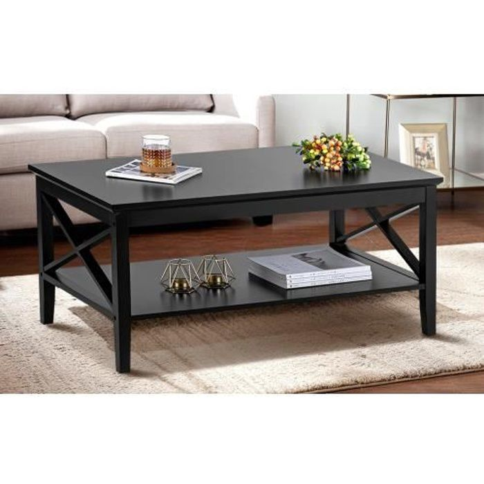 Table basse Salon Moderne X Design en bois avec étagère de rangement 100 cm x 60 cm x 47 cm --NOIR