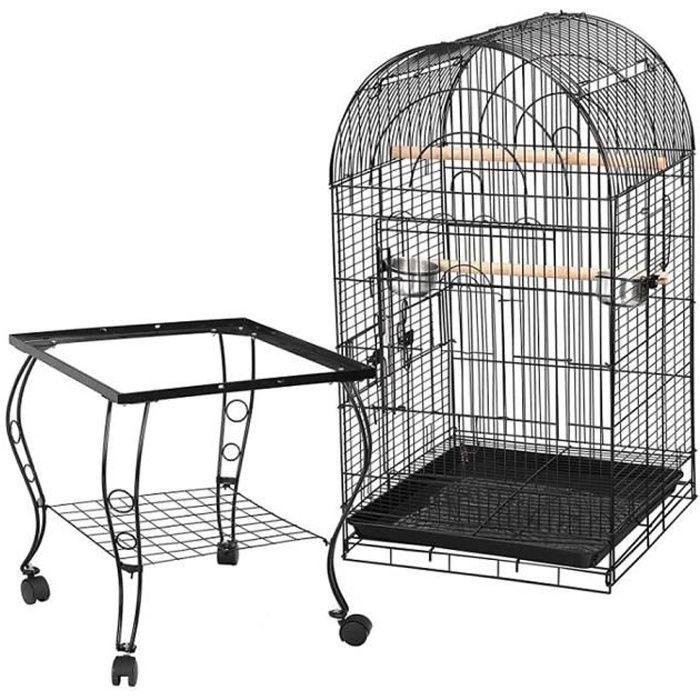 Cage à Oiseaux avec mangeoires perchoirs 59 x 59 x 150 cm noir - Cage Big Perroquet en métal robuste vernis