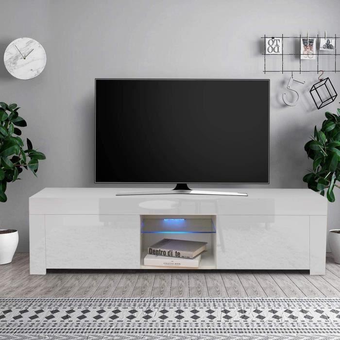 Dripex Meuble TV LED haute brillance - 130 cm - Blanc - Contemporain Corps blanc mat