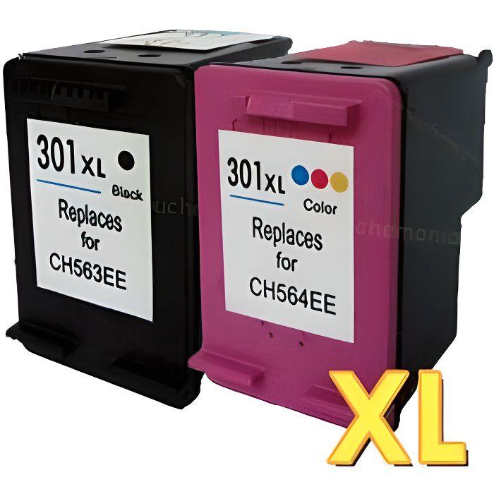 Pack 2 cartouches compatibles HP 301 XL - ENVY 4502 - 1 noire et 1 couleurs